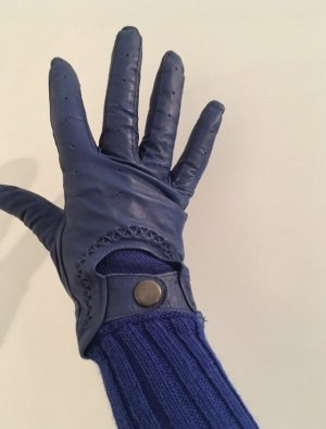 Faux Leather Gloves blue