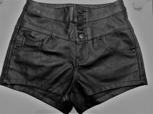 Short taille haute noir faux cuir