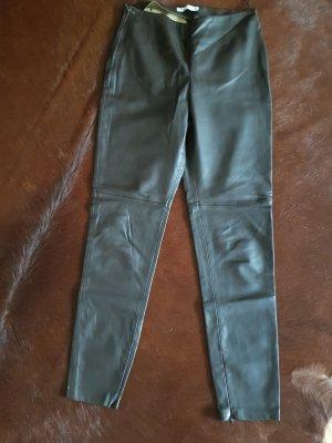 Mango Pantalón de cuero marrón oscuro