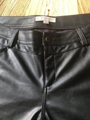 Comma Pantalón de cuero negro