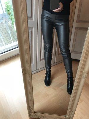 Kunstleder Hose grau glänzend H&M 34-36 Leggings Kunstleder