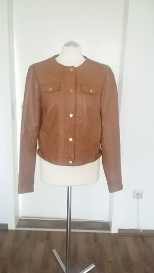 Faux Leather Jacket light brown-brown