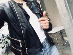 Faux Leather Jacket black-gold-colored