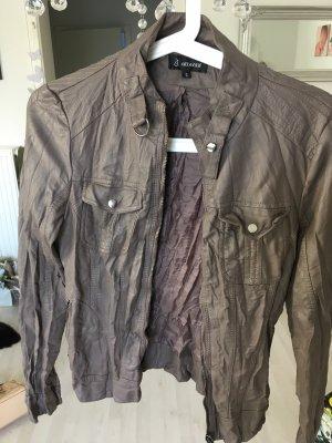 Attentif Veste en cuir synthétique gris brun-beige