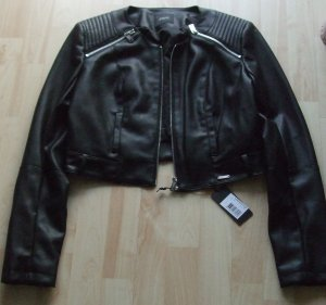 Guess Faux Leather Jacket black polyester
