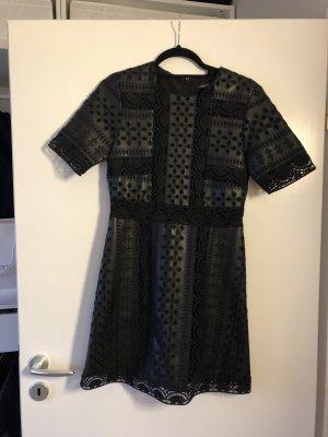 Zara Woman Leren jurk zwart
