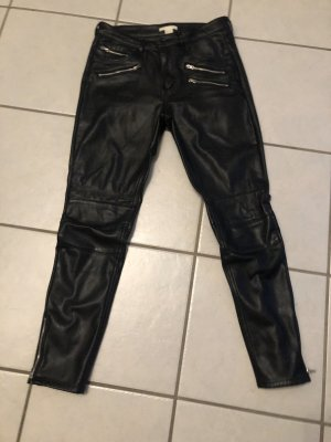 H&M Leather Trousers black-silver-colored