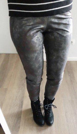 Kunstleder Leggings von Stehmann Gr. 34 XS grau Metallic