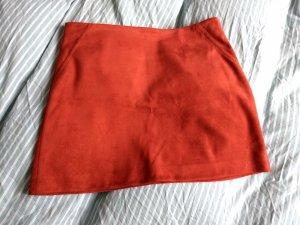 Mango Falda de cuero de imitación bermejo