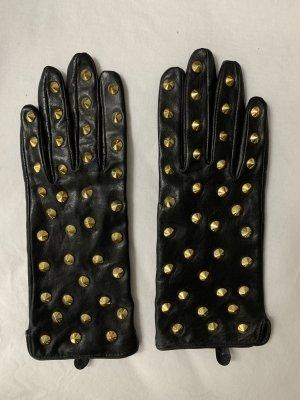 Zara Guantes de cuero de imitación negro-marrón arena