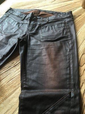 Guess Pantalón de cuero marrón oscuro-marrón
