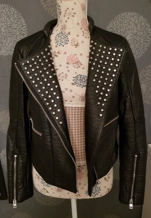 H&M Faux Leather Jacket black-silver-colored