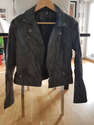 Faux Leather Jacket black-grey