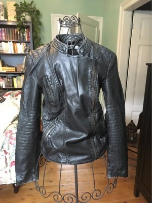 Only Faux Leather Jacket black-anthracite