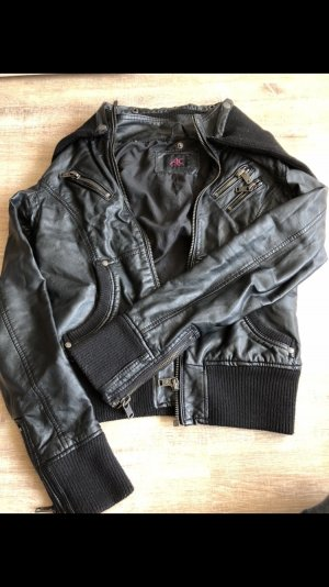 Ann Christine Faux Leather Jacket black