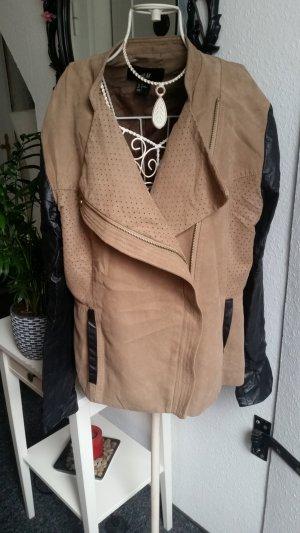 H&M Leren jack zwart-bruin