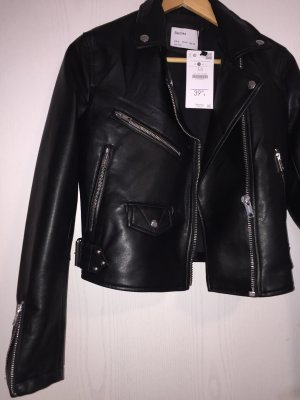 Bershka Faux Leather Jacket black