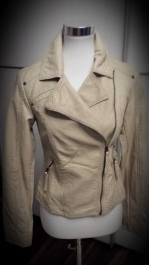 Colours of the World Biker Jacket oatmeal-sand brown imitation leather