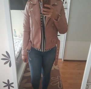 Kunstlederjacke/Bikerjacke rosa Bershka