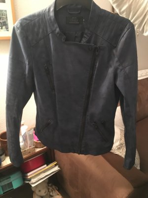Only Faux Leather Jacket dark blue