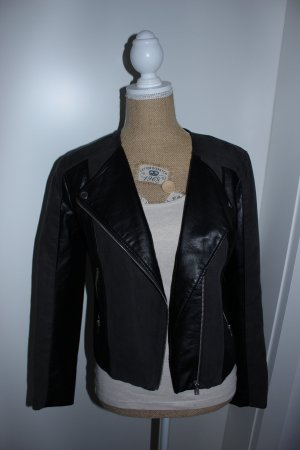 H&M Divided Faux Leather Jacket black-anthracite