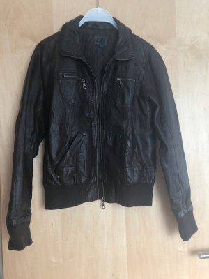 Faux Leather Jacket brown viscose