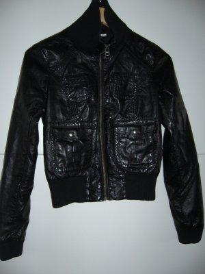 Kunstlederjacke Lederimitatjacke schwarz H&M XS 34