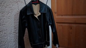 Faux Leather Jacket black-sand brown polyester
