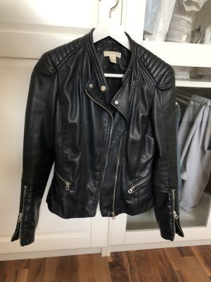 H&M Bikerjack zwart Imitatie leer