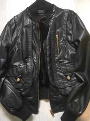 Chaqueta de cuero de imitación negro
