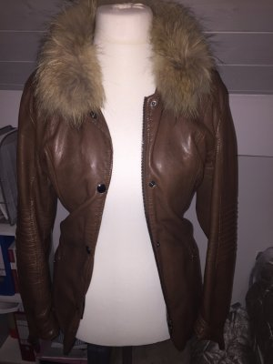 Faux Leather Jacket brown-cognac-coloured