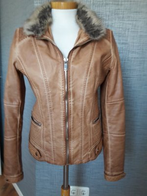 Bershka Faux Leather Jacket bronze-colored