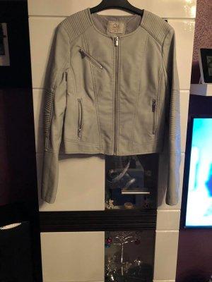 Faux Leather Jacket light grey