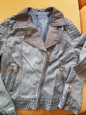 Faux Leather Jacket azure-slate-gray imitation leather