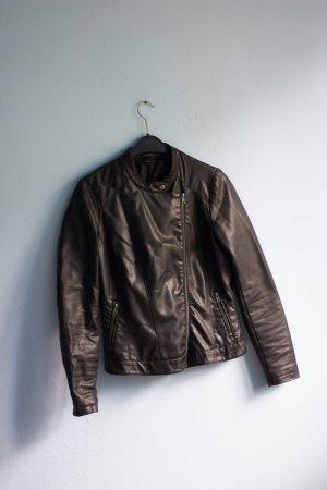 Kunstlederjacke schwarz grau Bikerjacke