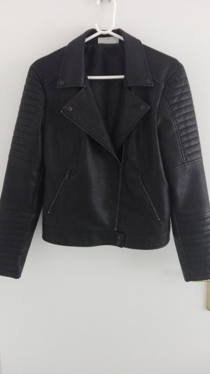 Noisy May Biker Jacket black imitation leather