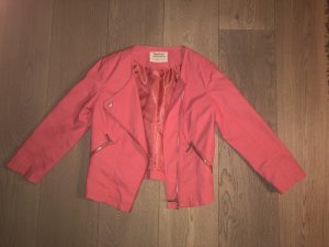 Bershka Faux Leather Jacket bright red
