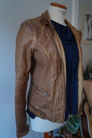 Bershka Faux Leather Jacket brown-light brown