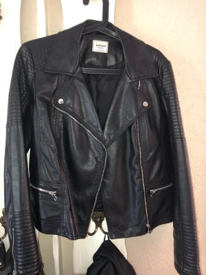 Pimkie Faux Leather Jacket black-silver-colored imitation leather