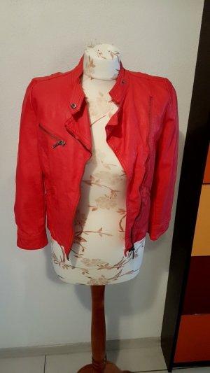 Kunstlederjacke Zara rot Größe 36/S Top Zustand