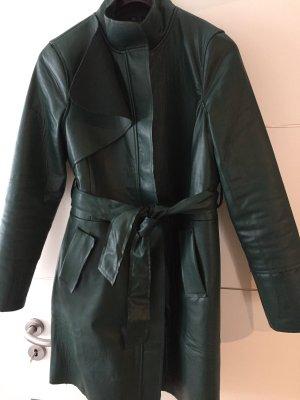 Manteau en cuir vert forêt faux cuir