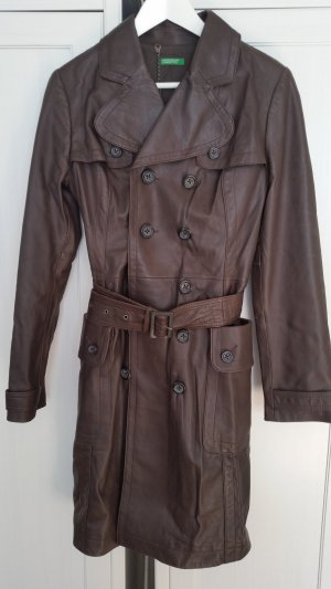Benetton Leather Coat dark brown