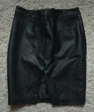 H&M Falda de cuero de imitación negro