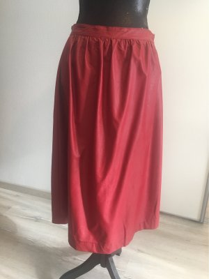 Faux Leather Skirt dark red