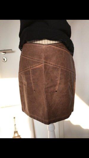 Mouvance Falda de cuero de imitación coñac-color bronce