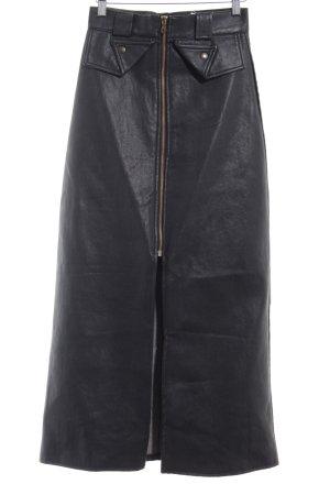 Jupe en cuir synthétique noir style décontracté