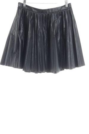 Falda de cuero de imitación negro estilo rockabilly
