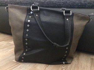 Kunstledertasche in Schwarz- Braun