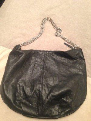 Kunstledertasche klein Schwarz mit Ketten