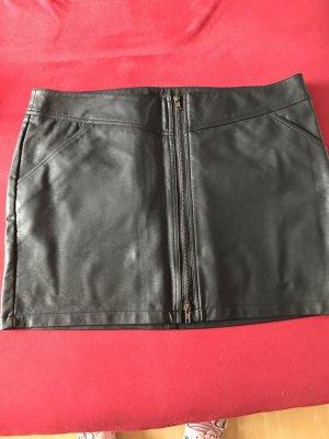 Rainbow Faux Leather Skirt black